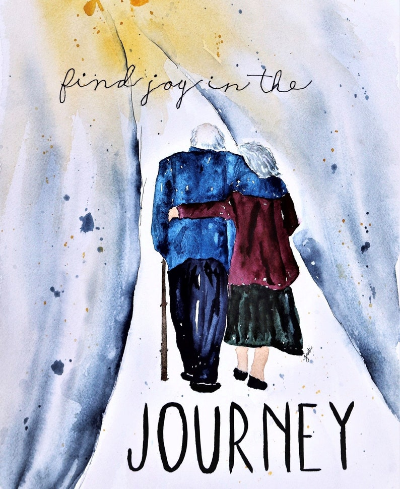 Find Joy in the Journey Elderly Couple Watercolor Painting image 0