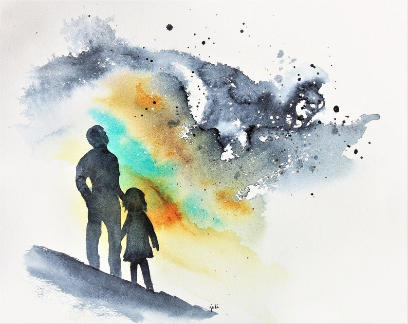 ORIGINAL Watercolor Painting  Dad and Daughter Looking Up image 0