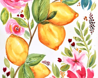 Print of original watercolor - Lemons and Pink Flowers