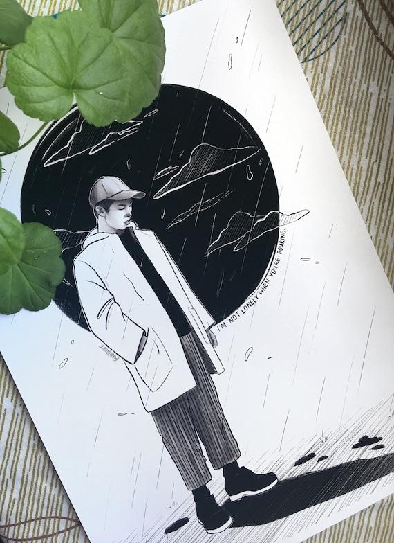 Forever Rain Namjoon Rm Mono A4 A5 Print Bts Fanart Etsy