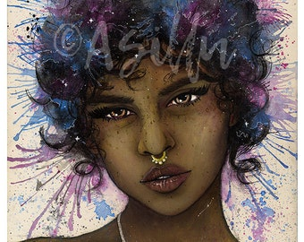 Cosmic • A4 Print • Watercolour + Acrylic • Space themed portrait