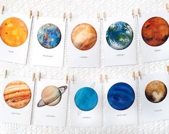 Solar System - Planet - A6 Postcards - Planets - Space - Sun - Mercury - Venus - Earth - Mars - Jupiter - Saturn - Uranus - Neptune - Pluto