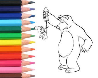 Masha And The Bear Coloring Pages Page Printable Kids Children Book