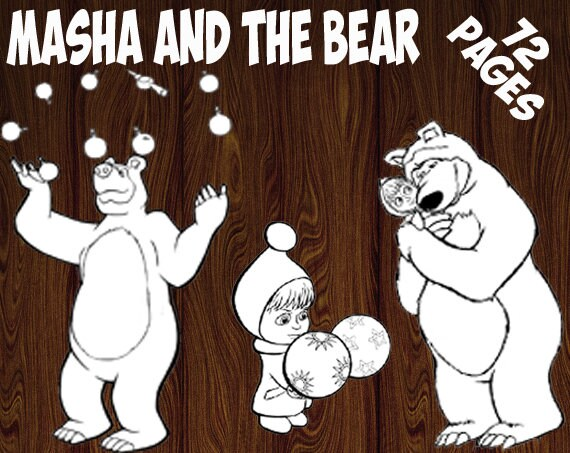 Masha and the Bear coloring pages-Coloring page printable-Kids coloring  pages-Children coloring page-Coloring book-Masha and the Bear