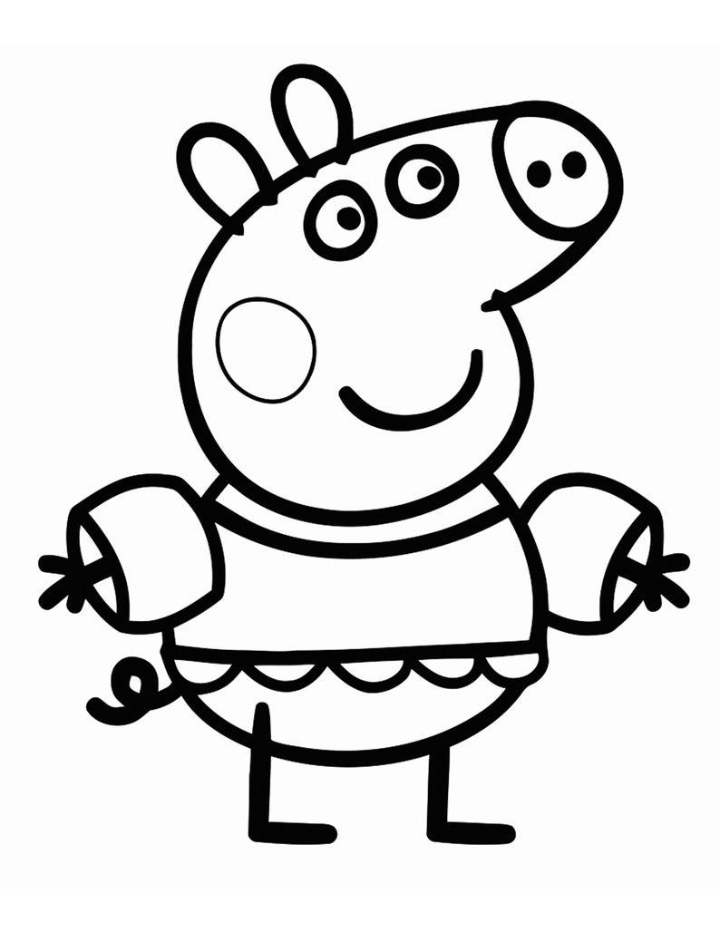 peppa pig kleurplaten afdrukbare voor kinderen alle etsy