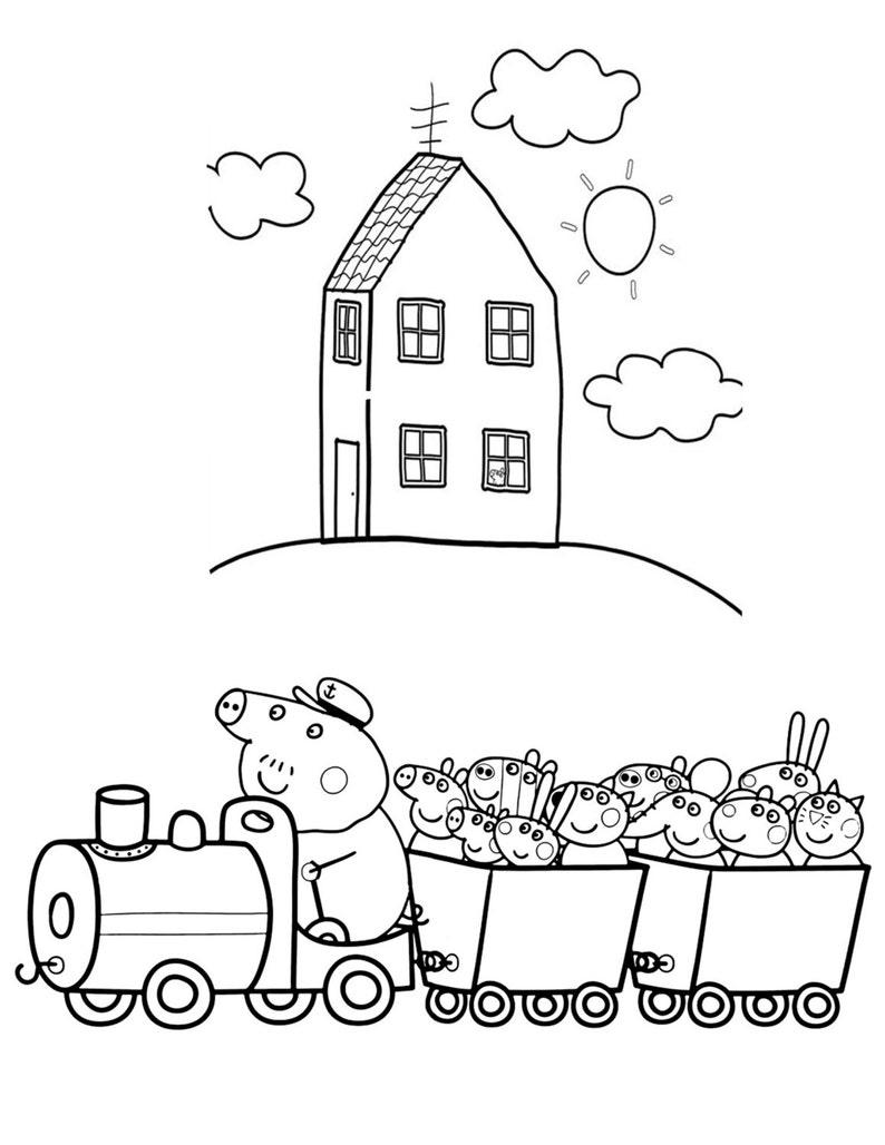 Kleurplaten Peppa Pig.Peppa Pig Kleurplaten Afdrukbare Voor Kinderen Van Alle Etsy