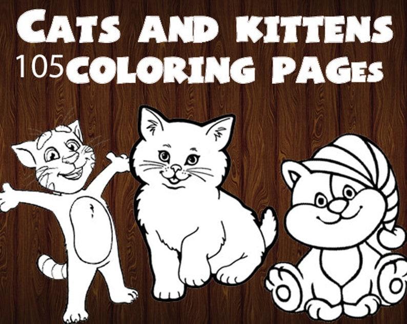 Gatti E Gattini Pagine Da Colorare Disegni Da Colorare Gatti Etsy