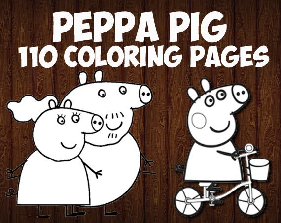 Peppa Pig Coloring Pages Printable For Children Of All Ages Etsy