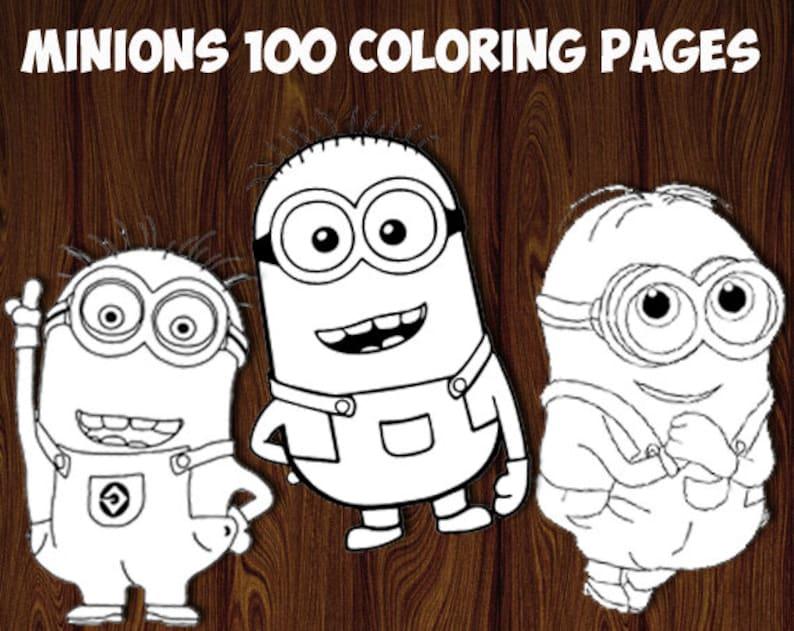 Kleurplaten Van De Minions.Minions Kleurplaten Afdrukbare Kleurende Pagina S Etsy