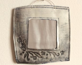 Little square mirror made from hand-stamped, recycled tin