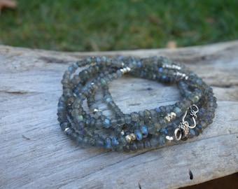 Labradorite Long Necklace, Gemstone Sterling Silver Layering Necklace, Bracelet, Valentine Gift