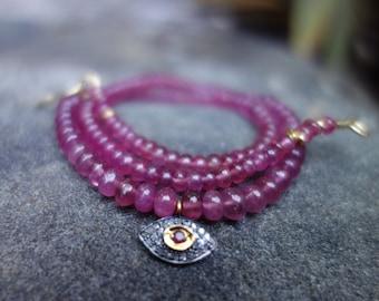 Pink Sapphire and Pave Diamond Evil Eye Beaded Necklace, Precious Stone, Vermeil Gold