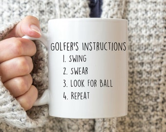 f7aeac1dc Golfer's Instructions, Golf Mug, Golf Gift For Man, Sports Mug, Golf Gift  Ideas, Golf Gifts for Dad, Golf Birthday Gifts, Golf Lover Gifts