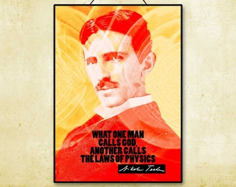 Nikola Tesla Inspiration Quote Printable Instant Download Poster Colorful Wall Art Print Scientific