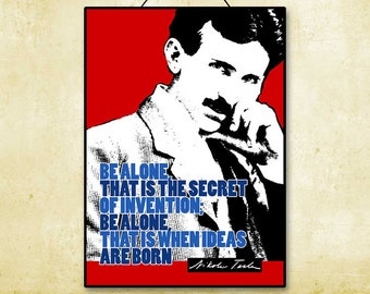 Nikola Tesla Inspirational Famous Quote Printable Instant Download Science Nerdy Poster Typography Digital Wall