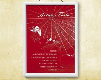 Printable Instant Download Poster Nikola Tesla Life Quote Art Print Wall