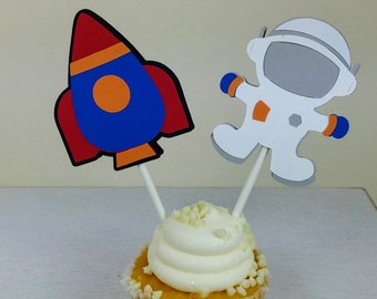 Space Cupcake Topper, Astronaut Cupcake Topper, Rocket Cupcake Topper, Space Party, Set of 12