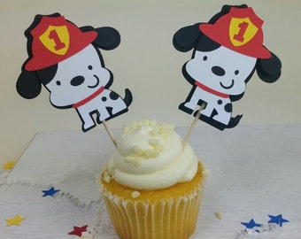 Firefighter Cupcake Toppers, Dalmatian Cupcake Toppers, Boy's Birthday Party, Set of 12