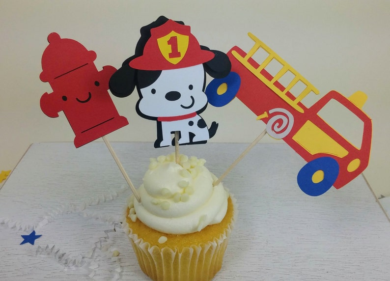 Firefighter Cupcake Toppers Firefighter Party Fire Etsy