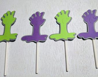 Zombie Cupcake Topper, Halloween Cupcake Topper, Halloween Wedding, Zombie Decor