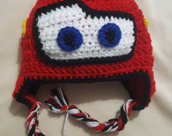 Cars inspired Lightning McQueen crocheted hat