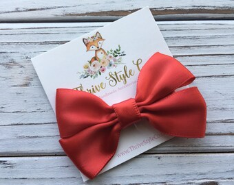 Red Satin Pinwheel Bow Hair Clip, Hair Bow, Hair Clip, Girls Bow, Ribbon Hair Bow, Red Hair Bow, Satin Hair Bow, Satin Ribbon Bow