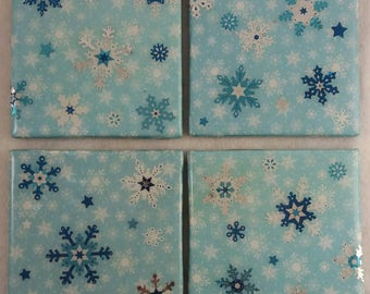 Christmas Coasters/ Holiday Coasters/ Christmas Decorations/ Snowflake Coasters/ Coasters/One of A kind
