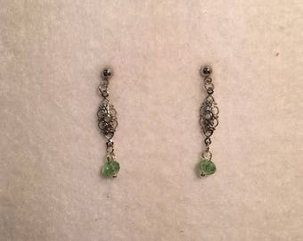 Silver and green dangle earring