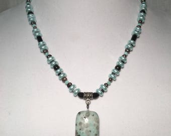 Seafoam blue and black beaded necklace