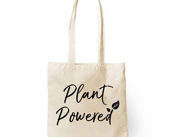 Earth Day Sale - Plant Powered Reusable Cotton Tote - Vegan Tote Bag - 100% Cotton - Made in USA - 25 Percent Profits Donated