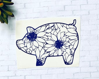 Sunflower gifts for mom, Summer decal for tumblers, cute car decals, pig lover gift, farm animal decal, cute pig sticker, sunflower pig