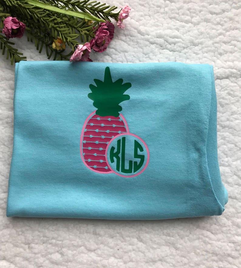 Ladies monogram Pineapple Short Sleeve shirt Summer Monogram image 0