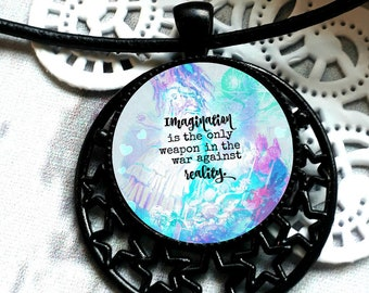 Imagination is the only weapon in the war against reality, bookish jewelry, Alice in Wonderland Necklace, Lewis Carroll, Queen of Hearts