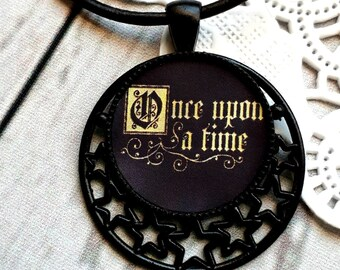 Once Upon A Time, Fairytale Necklace, Once Upon A Time Pendant Necklace, Book Necklace, Fairytale, Lucky Necklace, Faery Tale, Fairy Tale