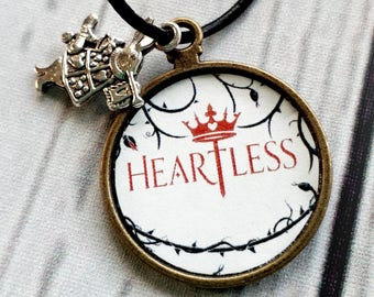 Heartless, Heartless necklace, bookish jewelry, Alice in Wonderland Necklace, Lewis Carroll Quote Pendant, Queen of Hearts Jewelry