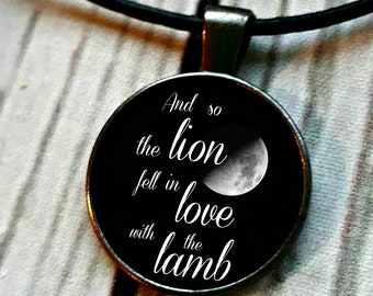 And so the lion fell in love with the lamb pendant necklace, Twilight, Stephanie Meyer, YA Fandom, Book necklace, book lover gift book quote