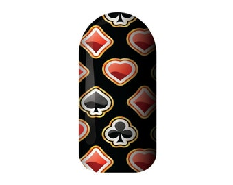Nail Wraps Poker, Nail Stickers, Nail Art, Gift for her, Party Nail Wraps, Vegan, Nail decals, Vinyl Nail wraps made in Australia