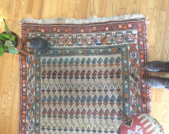 Vintage,  gorgeous old Persian rug, distressed hand knotted, hand made, bohemian styled, well used, well loved boho rug, orange, retro style