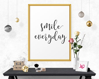 Inspirational Poster, Smile Everyday, Motivational Poster, Wall Decor, Home Art, Typographic Print, Inspirational, Office Decor
