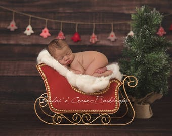 Digital Backdrop - prop for newborn photography - Christmas sleigh