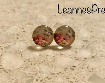 Beautiful Handmade Vintage Rose Floral Glass Cabochon Earrings Flatback 12mm