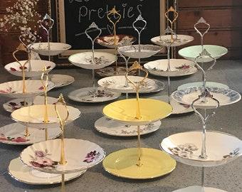 Handmade English bone china High Tea Cake Plate Jewelry Stand Trinket Dish Wedding Gift (Lot 1)