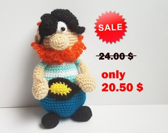Crochet Pirate Amigurumi knitted toys doll for boys toy for boy  kids gift stuffed pirate toy gift for children boys room decor