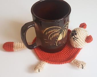 Cat coaster crochet coaster cat lover drink coasters cat lover gift for cat lover table coaster beverage coaster kitty coasters cat gift