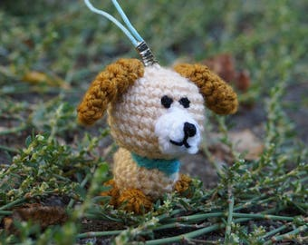 Gift for kid Small gift Kids birthday gift Bag charm Dog lover gift Cute dog Keychain dog Puppy party toy plushies dog Crochet stuffed puppy