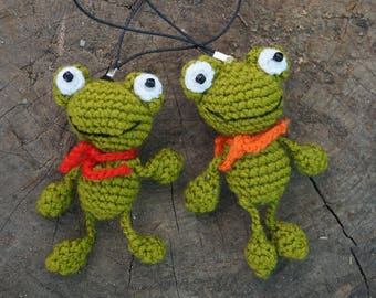 Gift for kids Crochet Frog Gift for Boy Stuffed animals Best friend gift Plush toy Key fob Keychain for him Fathers day keychain Frog toy