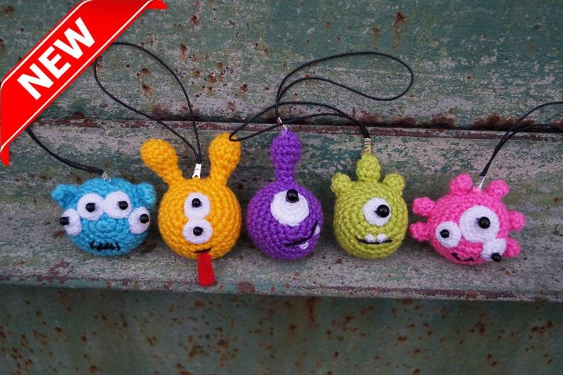 Monsters toy Keychain aliens Little crochet toys Set birthday image 0