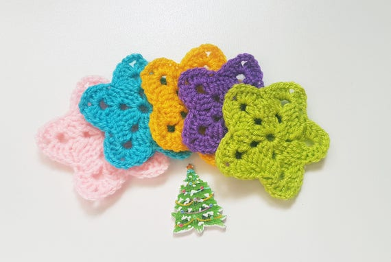 Crochet Stars Crochet Applique Swt Of 5 Star Decoration Gift Etsy