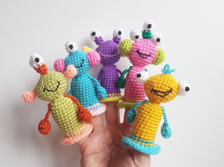 Monstruos títeres crochet juguetes dedos teatro alienígenas | Etsy