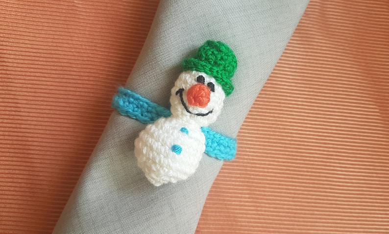 Christmas Table Decorations Crochet Christmas Christmas Dining Napkin Holder Snowman Ornament Crochet Napkin Rings Christmas Housewares